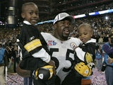 Joey Porter of the Pittsburgh Steelers celebrates after winning Super Bowl XL Between the Pittsburgh Steelers and the Seattle Seahawks at Ford Field in Detoit, Michigan on February 5, 2006