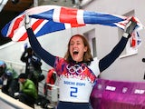 Lizzy Yarnold of Great Britain celebrates winning the gold medal during the Women's Skeleton on Day 7 of the Sochi 2014 Winter Olympics at Sliding Center Sanki on February 14, 2014