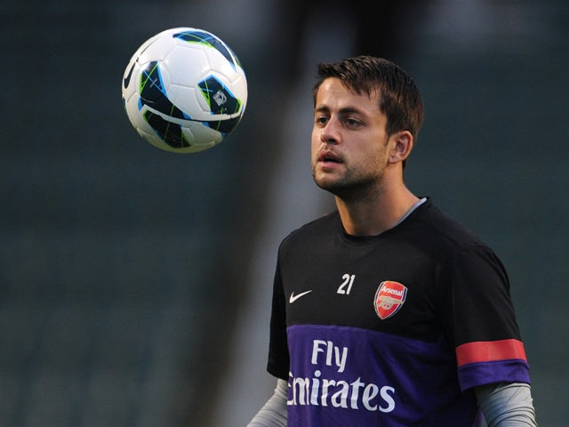 Lukasz Fabianski of English premier league football team Arsenal attends a training session in Hong Kong on July 28, 2012