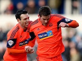 Lukas Jutkiewicz of Bolton celebrates after scoring their first goal during the Sky Bet Championship match between Millwall and Bolton Wanderers at The Den on February 15, 2014