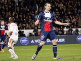 Paris' Swedish forward Zlatan Ibrahimovic reacts after scoring during the French L1 football match between Paris Saint-Germain (PSG) and Valenciennes on February 14, 2014
