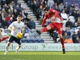 Mathieu Baudry of Leyton Orient scores the first goal of the game for his side during the Sky Bet League One match between Preston North End and Leyton Orient at Deepdale on February 15, 2014