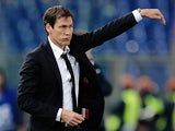 AS Roma French coach Rudi Garcia gestures during their Italian Serie A football match against Sampdoria in Rome's Olympic stadium on February 16, 2014