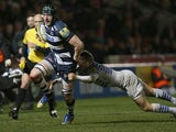 James Gaskell of Sale in action during the Aviva Premiership match between Sale Sharks and Saracens at the AJ Bell Stadium on February 14, 2014