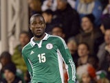 Solomon Kwambe of Nigeria in action during the international friendly match between Italy and Nigeria at Craven Cottage on November 18, 2013