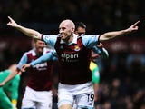 James Collins of West Ham United celebrates scoring during the Barclays Premier League match between West Ham United and Norwich City at the Boleyn Ground on February 11, 2014