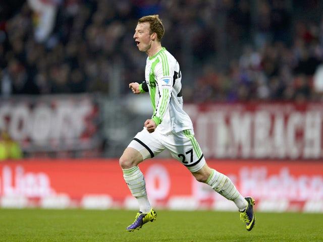Wolfsburg's midfielder Maximilian Arnold celebrates after scoring the 0-1 during the German first division Bundesliga football match between FC Nuremberg vs VfL Wolfsburg in Nuremberg, southern Germany, on November 23, 2013