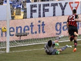 Adel Taarabt of Milan scores the opening goal during the Serie A match between UC Sampdoria and AC Milan at Stadio Luigi Ferraris on February 23, 2014