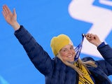 Sweden bronze medallist Anna Holmlund poses during the Women's Freestyle Skiing Ski Cross Medal Ceremony at the Sochi medals plaza during the Sochi Winter Olympics on February 21, 2014