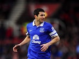 Antolin Alcaraz of Everton in action during the Barclays Premier League match between Stoke City and Everton at Britannia Stadium on January 01, 2014