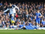 Kevin Mirallas of Everton is tackled by Frank Lampard of Chelsea during the Barclays Premier League match between Chelsea and Everton at Stamford Bridge on February 22, 2014