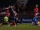 Chris Dagnall of Leyton Orient scores his goal during the Sky Bet League One match between Leyton Orient and Stevenage at the Matchroom Stadium on February 18, 2014