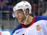 David Backes of the United States skates in the second period against Slovenia during the Men's Ice Hockey Preliminary Round Group A game on February 16, 2014
