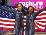 Silver medallists Elana Meyers and Lauryn Williams of the United States team 1 pose during the Women's Bobsleigh on Day 12 of the Sochi 2014 Winter Olympics at Sliding Center Sanki on February 19, 2014