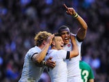 England scrum half Danny Care celebrates after scoring the first England try with Billy Twelvetrees and Luther Burrell during the RBS Six Nations match between England and Ireland at Twickenham Stadium on February 22, 2014