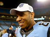 Eric Ebron #85 of the North Carolina Tar Heels speaks to reporters after defeating the Cincinnati Bearcats 39-17 at Bank of America Stadium on December 28, 2013