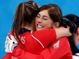 Eve Muirhead and Vicki Adams of Great Britain celebrate as they win the bronze medal during the Bronze medal match against Switzerland on Febraury 20, 2014