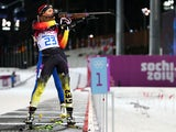 Evi Sachenbacher-Stehle of Germany competes in the Women's 12.5 km Mass Start during day ten of the Sochi 2014 Winter Olympics at Laura Cross-country Ski & Biathlon Center on February 17, 2014
