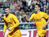 Marko Jankovic of Hellas Verona FC celebrates after scoring a goal during the Serie A match between AS Livorno Calcio and Hellas Verona FC at Stadio Armando Picchi on February 23, 2014