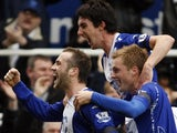 James McFadden celebrates scoring for Birmingham City against Arsenal on February 23, 2008.