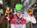 Austria's Johannes Duerr competes during the Men's Cross-Country Skiing 15km + 15km Skiathlon at the Laura Cross-Country Ski and Biathlon Center during the Sochi Winter Olympics on February 9, 2014