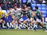 Niki Goneva of Leicester breaks away to score a try during the Aviva Premiership match between London Irish and Leicester Tigers at Madejski Stadium on February 23, 2014