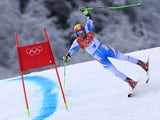 Austria's Marcel Hirscher competes during the Men's Alpine Skiing Giant Slalom Run 1 at the Rosa Khutor Alpine Center during the Sochi Winter Olympics on February 19, 2014