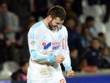 Marseille's French forward Andre-Pierre Gignac reacts after scoring a goal on February 22, 2014