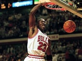 Michael Jordan #23 of the Chicago Bulls dunks the ball during an Eastern Conference Finals game against the Indiana Pacers at the United Center in Chicago, Illinois on May 19, 1998