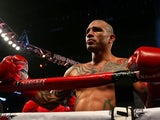 Miguel Cotto reacts to winning a Super Welterweight bout against Delvin Rodriguez at Amway Center on October 5, 2013
