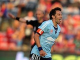 Alessandro Del Piero of Sydney Fc celebrates after scoring from the penalty spot during the round 20 A-League match between Newcastle Jets v Sydney FC at Hunter Stadium on February 22, 2014