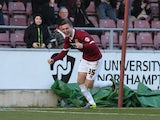Brennan Dickenson of Northampton Town celebrates after scoring his sides 2nd goal during the Sky Bet League Two match between Northampton Town and Hatrlepool United at Sixfields Stadium on February 22, 2014