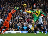 Hugo Lloris of Tottenham Hotspur makes a save from Ricky van Wolfswinkel of Norwich City during the Barclays Premier League match between Norwich City and Tottenham Hotspur at Carrow Road on February 23, 2014