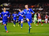 Jamie Vardy of Leicester celebrates scoring the opening goal during the Sky bet Championship match between Nottingham Forest and Leicester City at City Ground on February 19, 2014