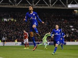 Riyad Mahrez of Leicester celebrates scoring to make it 2-2 during the Sky Bet Championship match between Nottingham Forest and Leicester City at the City Ground on February 19, 2014