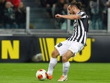 Juventus' Pablo Osvaldo scores his team's opening goal against Trabzonspor during their Europa League match on February 20, 2014