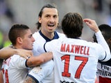 Paris Saint-Germain's Swedish forward Zlatan Ibrahimovic celebrates after the team's second goal during the French L1 football match Toulouse (TFC) vs Paris Saint-Germain (PSG) on February 23, 2014