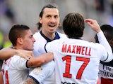 Paris Saint-Germain's Swedish forward Zlatan Ibrahimovic celebrates after the team's second goal during the French L1 football match Toulouse (TFC) vs Paris Saint-Germain (PSG) on February 23, 2014