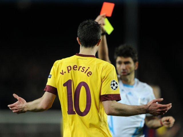 Robin van Persie, then of Arsenal, sees red against Barcelona on March 08, 2011.