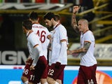 Radja Naingollan # 44 of AS Roma celebrates after scoring a goal during the Serie A match between Bologna FC and AS Roma at Stadio Renato Dall'Ara on February 22, 2014