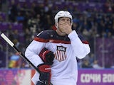 US Ryan Suter reacts to the team's 0-1 defeat to Canada in the Men's Ice Hockey Semifinals USA vs Canada at the Bolshoy Ice Dome during the Sochi Winter Olympics on February 21, 2014