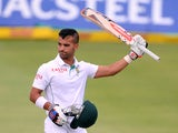JP Duminy of South Africa celebrates his 100 during day 2 of the 2nd Test match between South Africa and Australia at AXXESS St Georges on February 21, 2014
