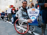 Paralympic Wheelchair Curling Olympic hopeful Jimmy Joseph poses for a photo during the 100 Days Out Sochi Winter Olympics Event at NBC's TODAY Show on October 29, 2013