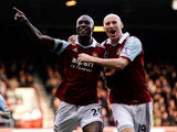 Carlton Cole of West Ham celebrates after scoring his team's second goal of the game during the Barclays Premier League match between West Ham and Southampton at Boleyn Ground on February 22, 2014