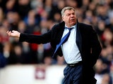 West Ham manager Sam Allardyce reacts during the Barclays Premier League match between West Ham and Southampton at Boleyn Ground on February 22, 2014