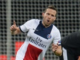 Paris Saint-Germain's French midfielder Yohan Cabaye celebrates scoring the 0-4 goal during the first-leg round of 16 UEFA Champions League football match against Bayer 04 Leverkusen on February 18, 2014