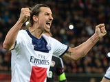PSG striker Zlatan Ibrahimovic celebrates scoring during the first-leg round of 16 UEFA Champions League football match against Bayer 04 Leverkusen on February 18, 2014