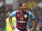 Leandro Bacuna of Aston Villa celebrates scoring their third goal during the Barclays Premier League match between Aston Villa and Norwich City at Villa Park on March 2, 2014
