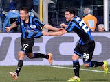 Carlos Carmona of Atalanta BC #17 celebrates scoring the first goal during the Serie A match between Atalanta BC and AC Chievo Verona at Stadio Atleti Azzurri d'Italia on March 2, 2014
