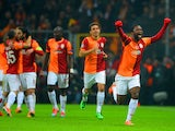 Galatasaray's Aurelien Chedjou celebrates after scoring his team's opening goal against Chelsea during their Champions League match on February 26, 2014